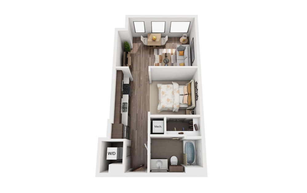1A - Studio floorplan layout with 1 bath and 504 square feet.