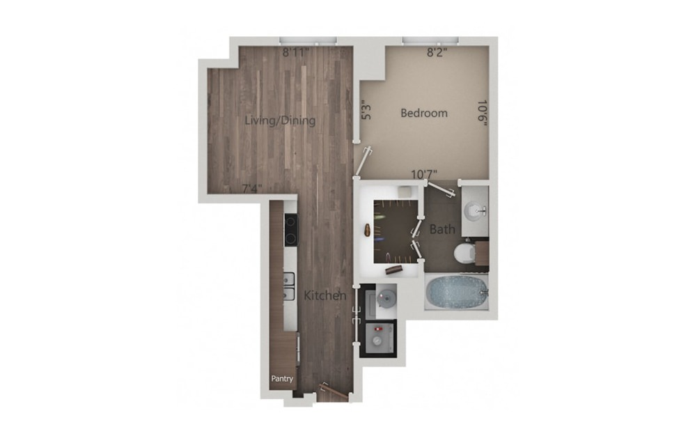 1B - Smart Housing - 1 bedroom floorplan layout with 1 bath and 571 square feet.
