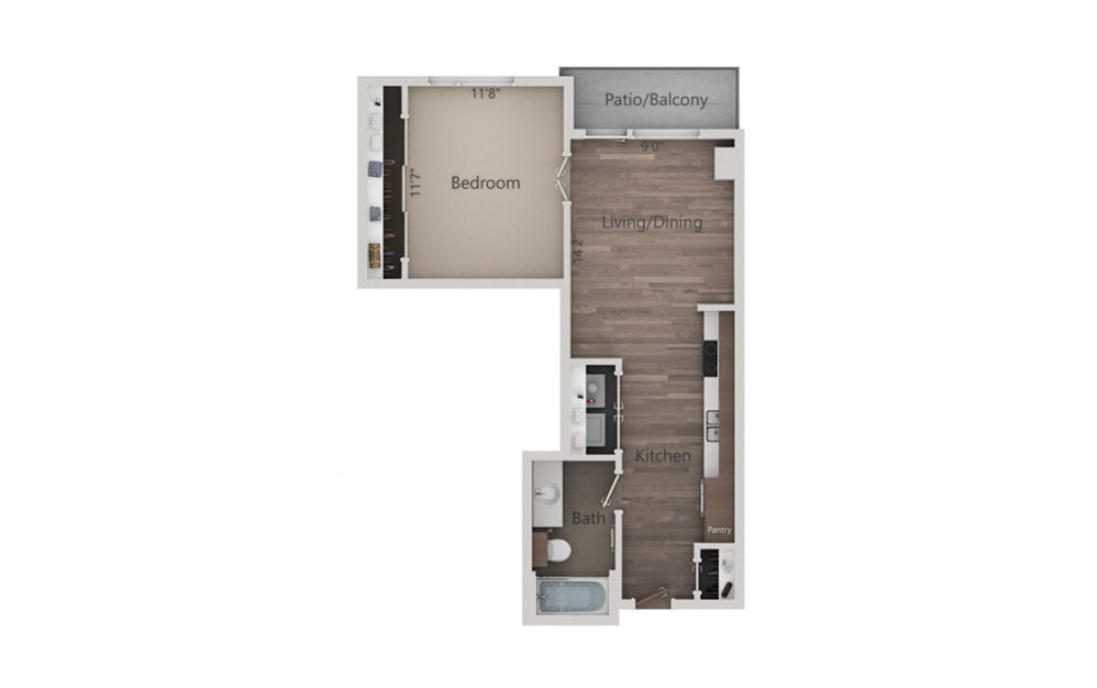1C - 1 bedroom floorplan layout with 1 bath and 548 square feet.