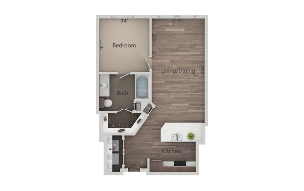 1D - 1 bedroom floorplan layout with 1 bath and 615 square feet.