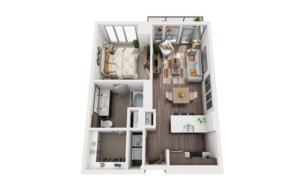 1E - 1 bedroom floorplan layout with 1 bath and 652 to 730 square feet.