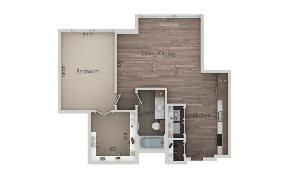 1F - 1 bedroom floorplan layout with 1 bath and 764 square feet.