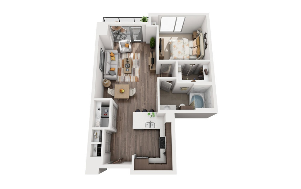 1G - 1 bedroom floorplan layout with 1 bath and 760 square feet.