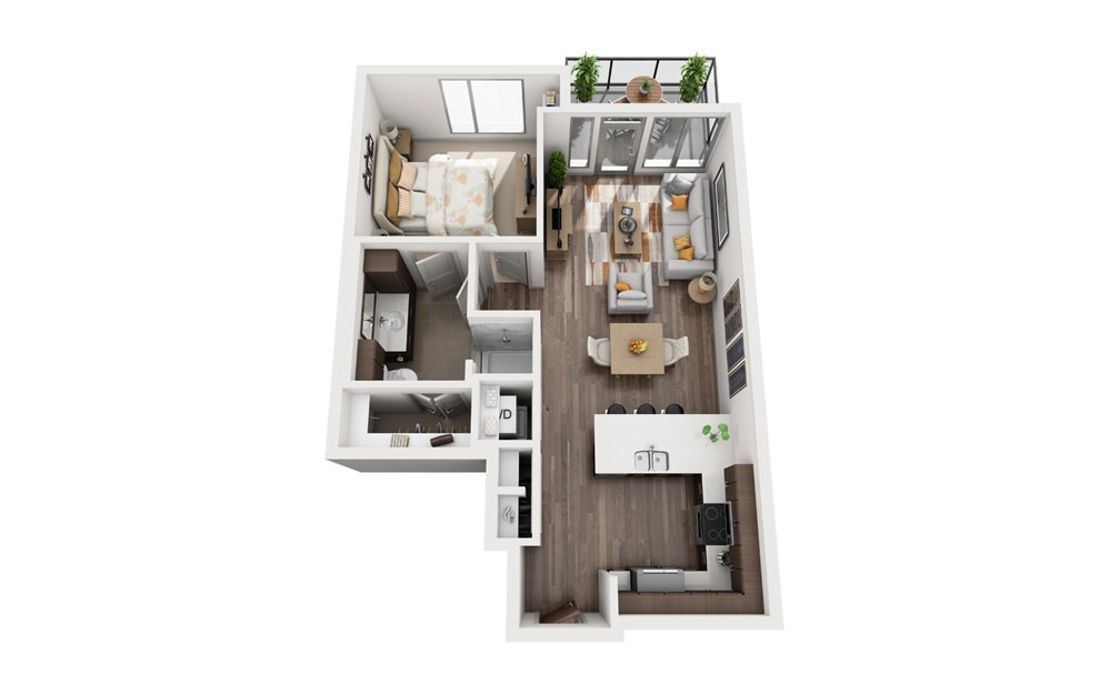 1H - 1 bedroom floorplan layout with 1 bath and 702 square feet.