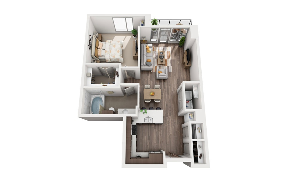 1I - 1 bedroom floorplan layout with 1 bath and 764 to 838 square feet.
