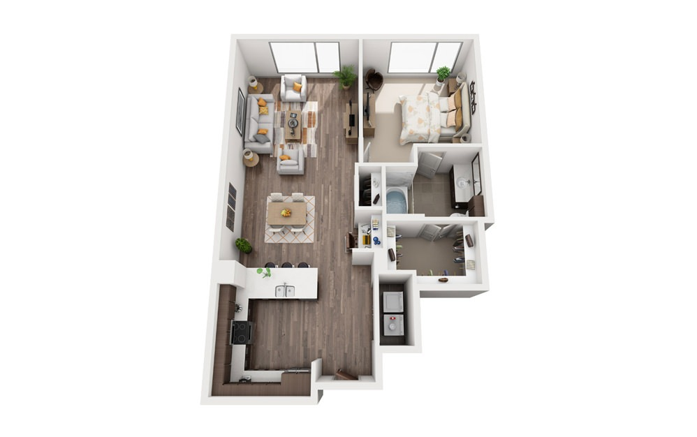 1J - 1 bedroom floorplan layout with 1 bath and 829 square feet.