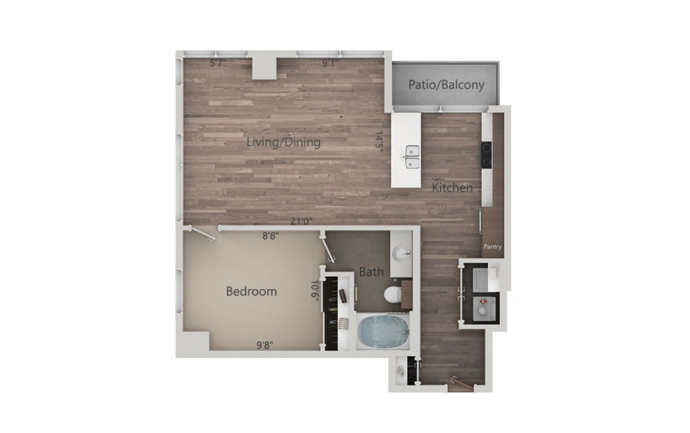 1K - 1 bedroom floorplan layout with 1 bath and 790 square feet.