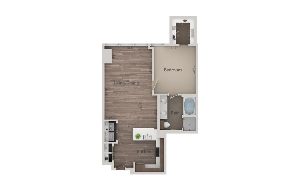 1L - 1 bedroom floorplan layout with 1 bath and 839 square feet.