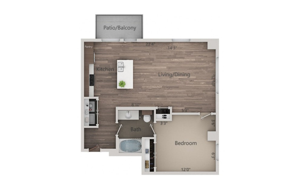 1M - 1 bedroom floorplan layout with 1 bath and 771 square feet.