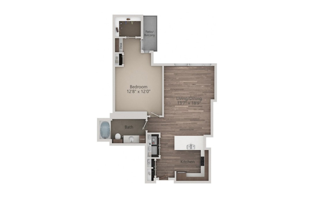 1N - 1 bedroom floorplan layout with 1 bath and 847 square feet.