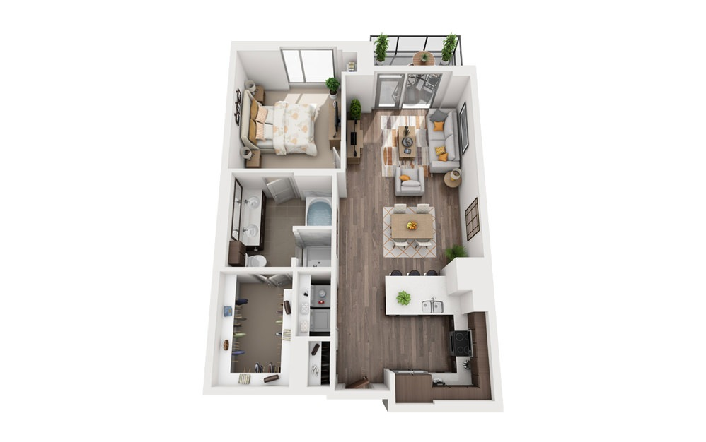 1O - 1 bedroom floorplan layout with 1 bath and 865 square feet.