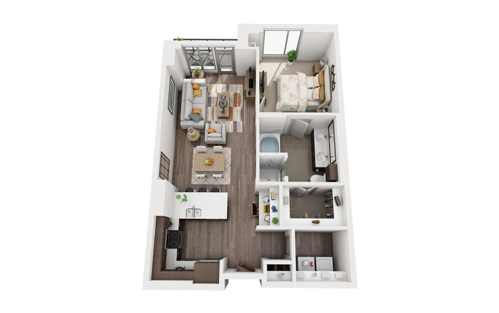 1P - 1 bedroom floorplan layout with 1 bath and 895 to 956 square feet.