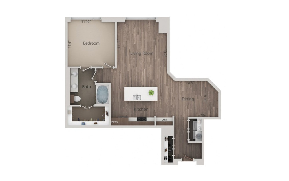 1Q - 1 bedroom floorplan layout with 1 bath and 958 square feet.