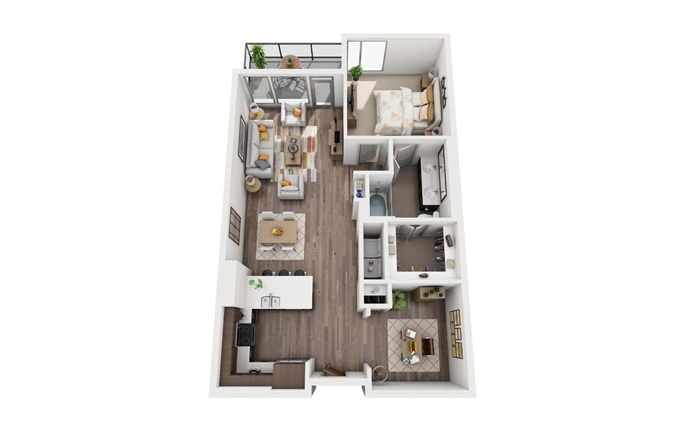 1S - 1 bedroom floorplan layout with 1 bath and 973 square feet.