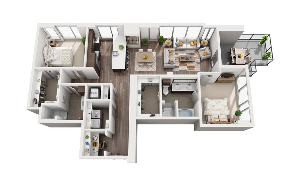 2F - 2 bedroom floorplan layout with 2 baths and 1439 square feet.