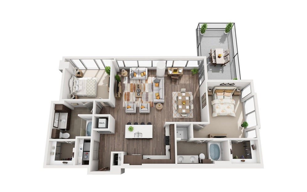 2G - 2 bedroom floorplan layout with 2 baths and 1465 square feet.