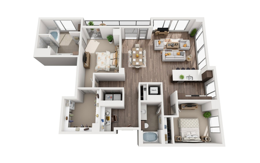 2I - 2 bedroom floorplan layout with 2 baths and 1536 square feet.