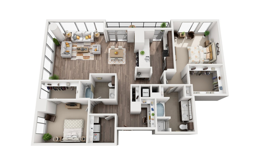 2K - 2 bedroom floorplan layout with 2 baths and 1802 square feet.