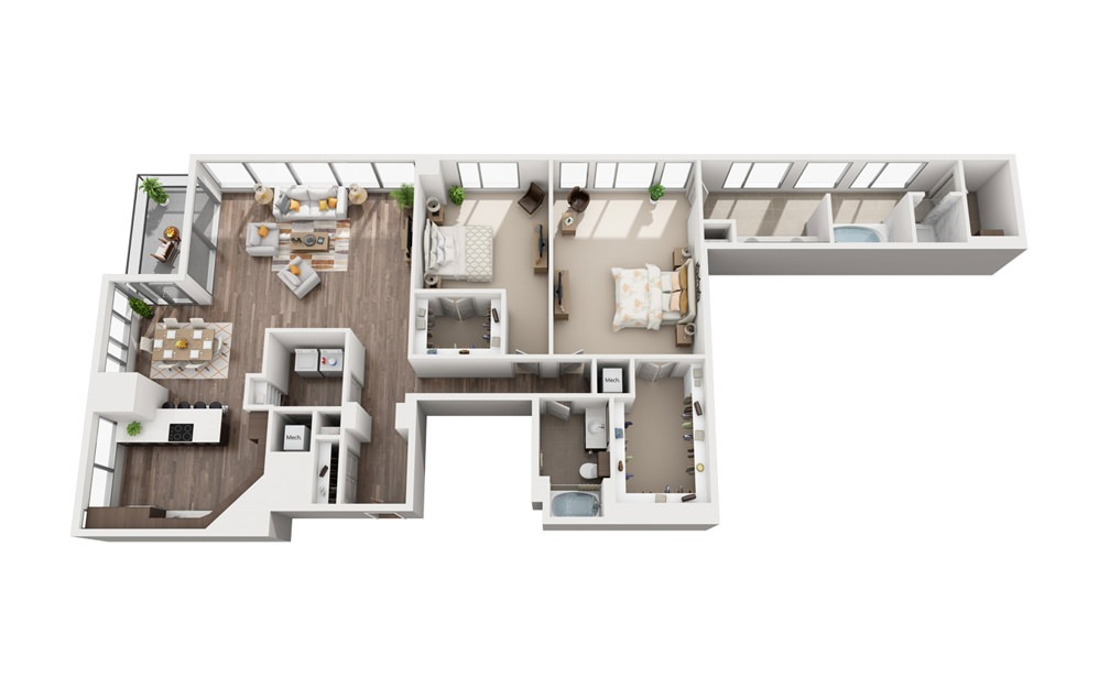 2L - 2 bedroom floorplan layout with 2 baths and 1994 square feet.