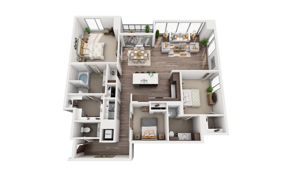 3A - 3 bedroom floorplan layout with 2.5 baths and 1750 square feet.