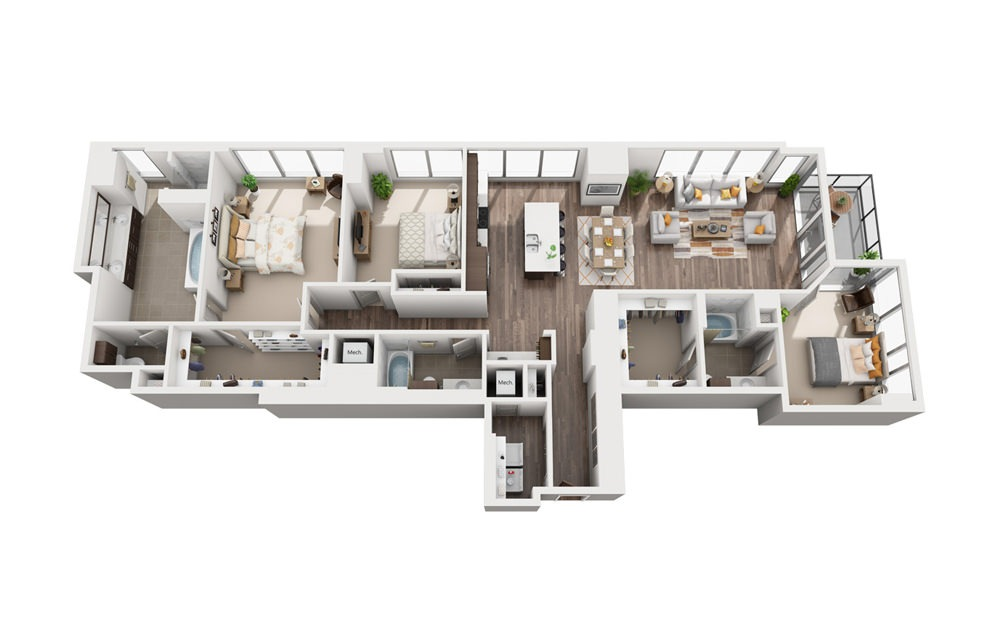 3B - 3 bedroom floorplan layout with 3 baths and 2147 square feet.