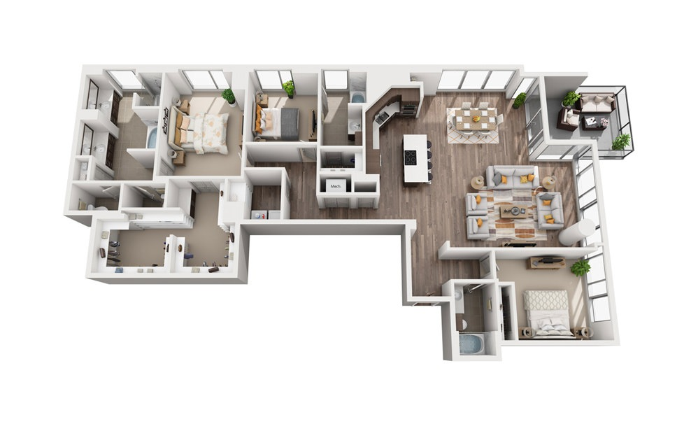 3C - 3 bedroom floorplan layout with 3 baths and 2517 square feet.