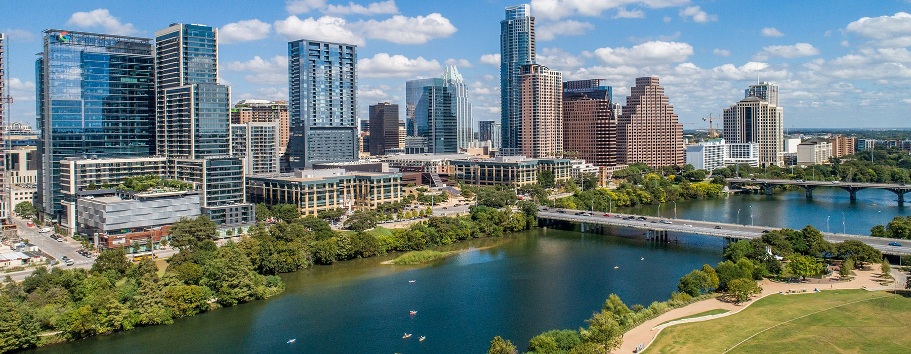Exterior view of Austin and the river